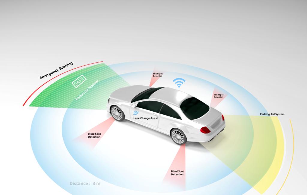 Autonomous,Self-driving,Electric,Car,Showing,Lidar,,Radar,Safety,Sensors,,Smart